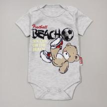 """Боди для малышей серого цвета """"Мишка на пляже"""""""
