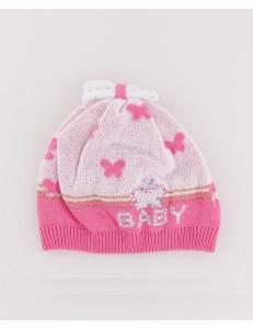 "Шапочка для малышек розового цвета с бабочками ""mini"""