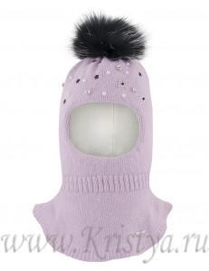 Шапка-шлем для девочек светло-сиреневого цвета с бусинками ВЕНЕРА
