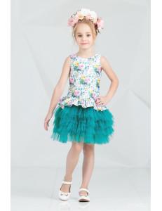 """Платье нарядное с многослойной юбкой изумрудного цвета """"Брайт"""""""