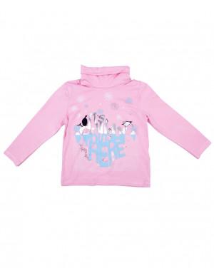 """Водолазка для девочек розовая """"пингвины на льду"""""""