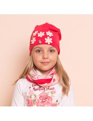 """Комплект для девочек кораллового цвета (шапка и снуд) """"Пять ромашек"""""""