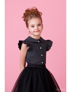 """Блузка черного цвета в горох с коротким рукавом """"Крылышки"""""""